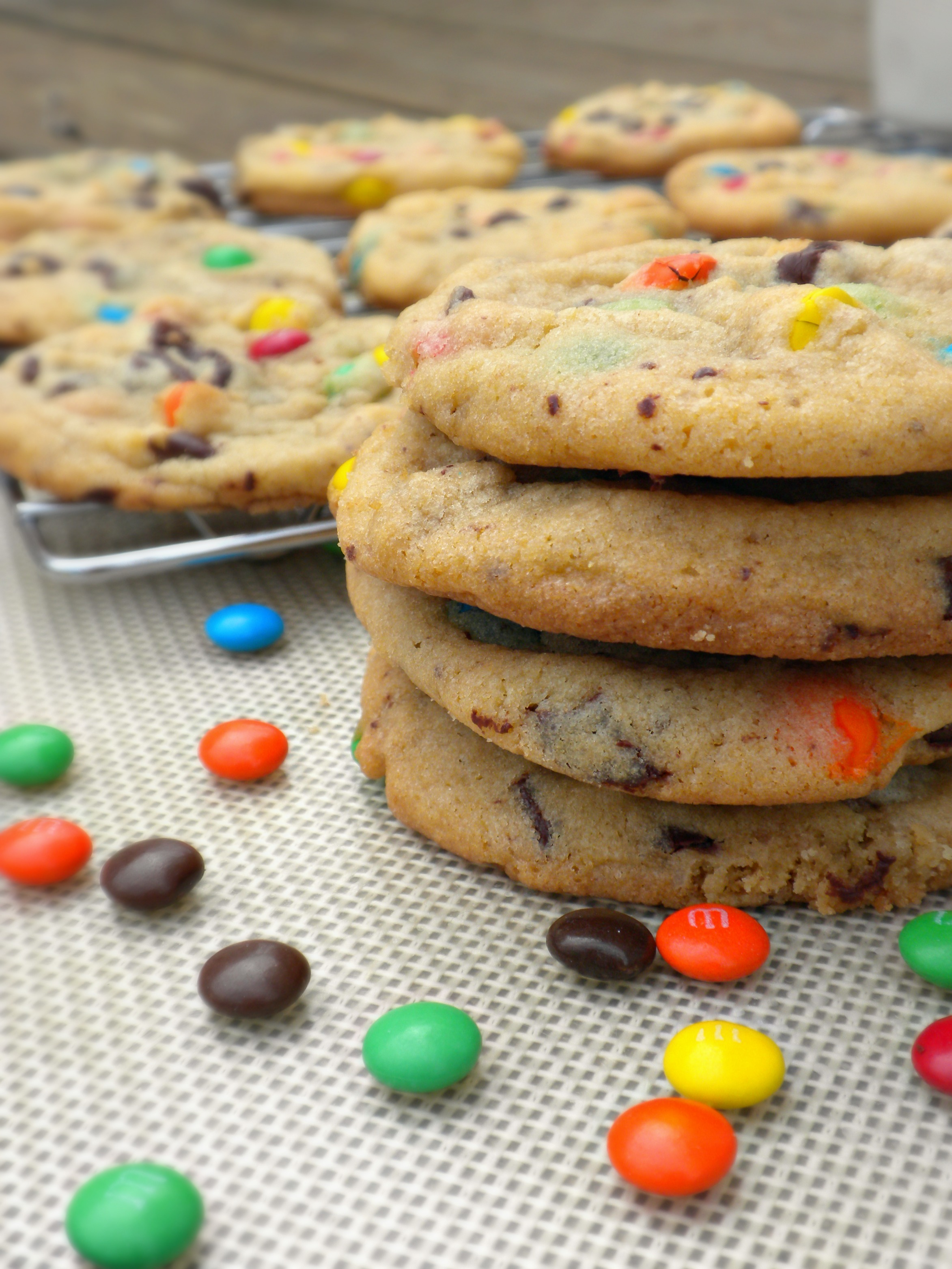 Perfectly Chewy M&M Cookies - Forks In The Road