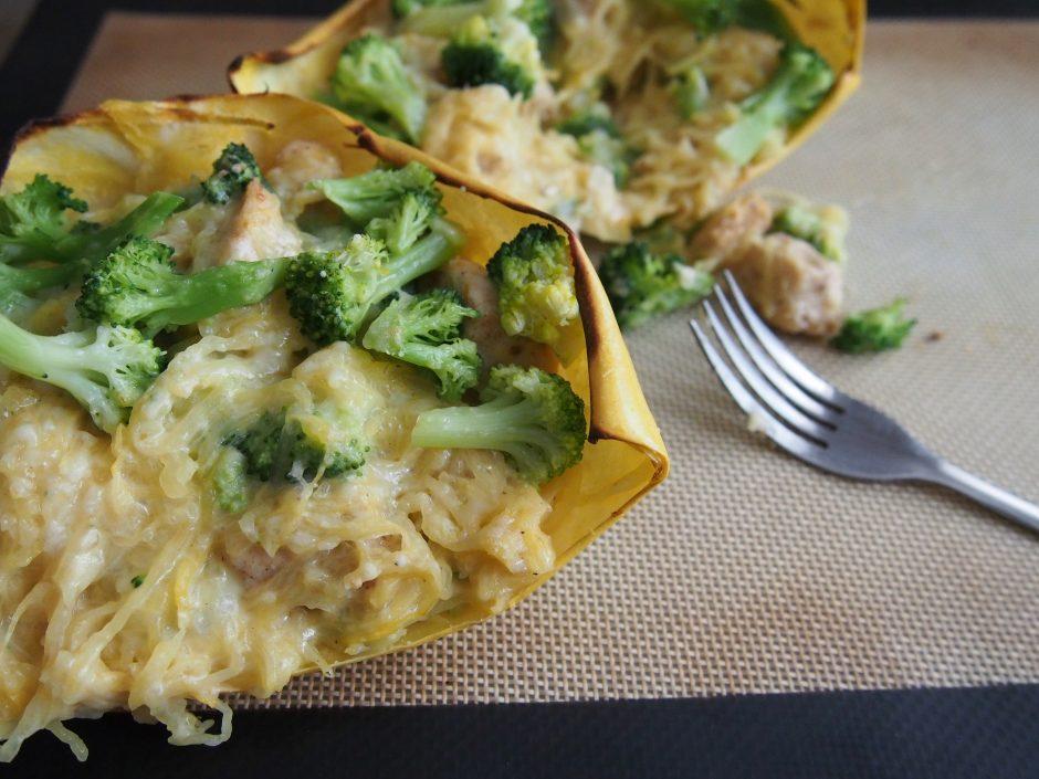 Chicken & Broccoli Spaghetti Squash Boats
