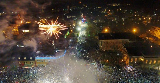 Fireworks over Franklin St after Championship Win
