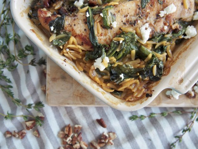 goat cheese chicken orzo with toasted pecans | forks in the road