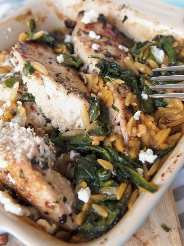 goat cheese chicken orzo | Forks in the Road