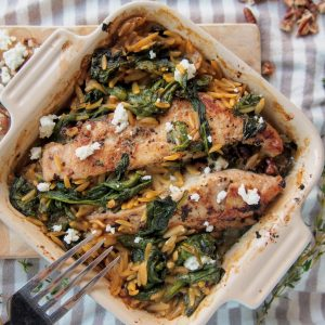 Chicken orzo with goat cheese and toasted pecans | Forks in the Road